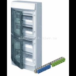 Шкаф электрический IP65 Mistral накладной 48 модуля , прозрачные двери, с винтовыми N/PE клеммами на 52 подключения.