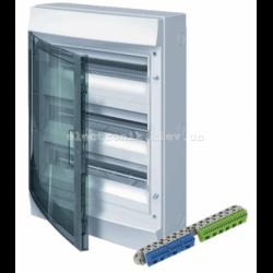 Шкаф электрический IP65 Mistral накладной 54 модуля, прозрачные двери, с винтовыми N/PE клеммами на 52 подключения.