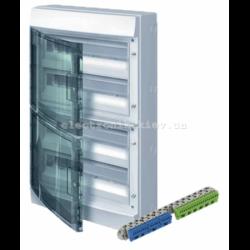 Шкаф электрический IP65 Mistral накладной 72 модуля, прозрачные двери, с винтовыми N/PE клеммами на 52 подключения.