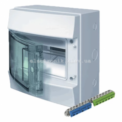 Шкаф электрический IP65 Mistral прозрачные двери, 8 модулей с винтовыми N/PE клеммами на 12 подключения.