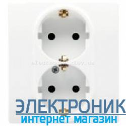 Розетка двойная с заземлениием и шторками , белый - Legrand Etika