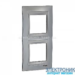 Рамка 2-я вертикальная Schneider Electric Unica Top Блестящий хром/Алюминий