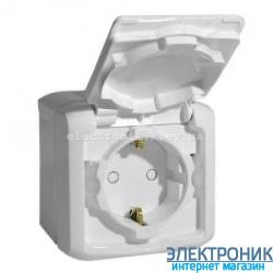 Розетка с заземлением и шторками, влагозащищенная IP44, наружная, белый - Legrand Forix