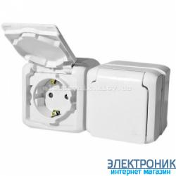 Выключатель и Розетка с заземлением и шторками, влагозащищенная IP44, наружная, белый - Legrand Forix