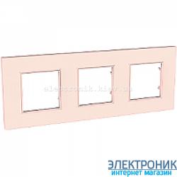 Рамка трехместная Schneider (Шнайдер) Unica Quadro Pearl Розово-жемчужный