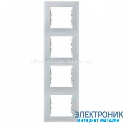 Рамка четырехместная Schneider (Шнайдер) Sedna вертикальная Серый SDN5802033