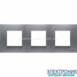 Рамка 3 пост ABВ Zenit серебро