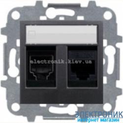 Розетка компьютерная двойная ABВ Zenit антрацит