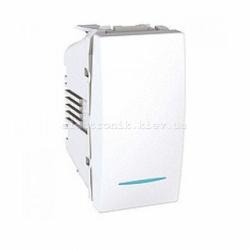 Переключатель 1-кл c подсветкой Unica 1 модуль белый