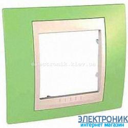 Рамка одноместная Schneider (Шнайдер) Unica Plus Зелёное яблоко/Слоновая кость