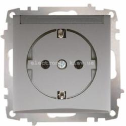 Механизм Розетка с крышкой и заземлением EL-BI Zena Silverline Серый