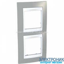 Рамка двухместная Schneider (Шнайдер) Unica Plus вертикальная Туманно-серый/Белый