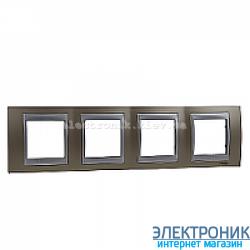 Рамка 4-я горизонтальная Schneider Electric Unica Top Оникс медный/Алюминий