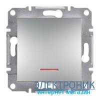 Выключатель Schneider (Шнайдер) Asfora Plus 1-клавишный с подсветкой алюминий