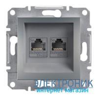 Розетка Schneider (Шнайдер) Asfora Plus компьютерная двойная RJ45 кат.5е UTP сталь