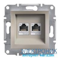 Розетка Schneider-Electric Asfora Plus компьютерная RJ45 двойная кат.5е UTP бронза