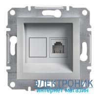 Розетка Schneider (Шнайдер) Asfora Plus телефонная RJ11 алюминий