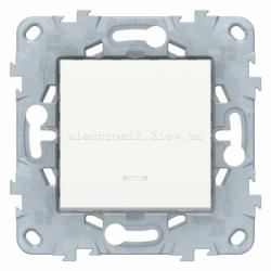 Выключатель/переключатель 1-клавишный , с белой подсветкой, Белый, серия Unica New