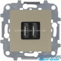 Розетка USB для подзарядки 1400мА/700Ма  ABВ Zenit шампань