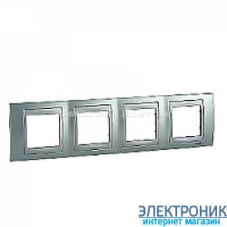 Рамка 4-я горизонтальная Schneider Electric Unica Top Изумрудный/Алюминий