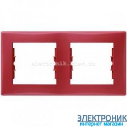 Рамка Schneider (Шнайдер) Sedna 2-поста горизонтальная красный