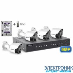 Комплект видеонаблюдения BALTER KIT 5MP (4 наружные камеры)