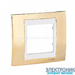 Рамка 1-я Schneider Electric Unica Top Золото/Слоновая кость
