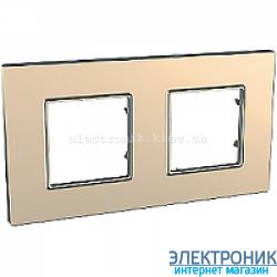 Рамка двухместная Schneider (Шнайдер) Unica Quadro Metallized Медный