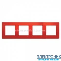 Рамка 4-х постовая Legrand Etika (красная)
