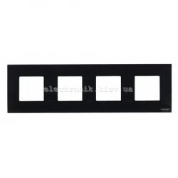 Рамка четверная ABВ Zenit черное стекло