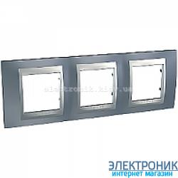 Рамка 3-я горизонтальная Schneider Electric Unica Top Металлик/Алюминий