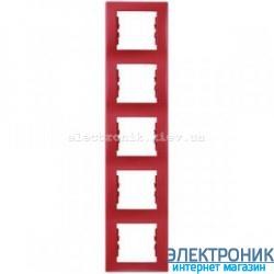 Рамка Schneider-Electric Sedna 5-постовая вертикальная красный