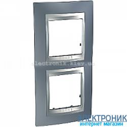 Рамка 2-я вертикальная Schneider Electric Unica Top Металлик/Алюминий