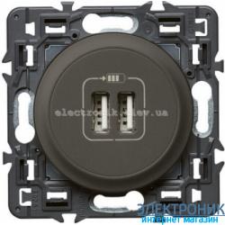 Розетка USB Legrand Celiane для зарядки двойная Графит