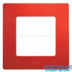 Рамка 1-постовая Legrand Etika (красная)