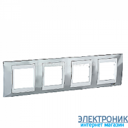Рамка 4-я горизонтальная Schneider Electric Unica Top Блестящий хром/Белый