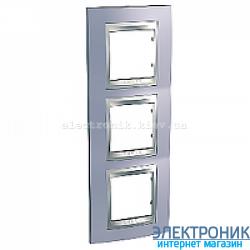 Рамка 3-я вертикальная Schneider Electric Unica Top Голубой берилл/Алюминий