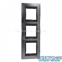Рамка 3-я вертикальная Schneider Electric Unica Top Матовый хром/Графит