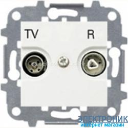 Розетка TV+R проходная ABВ Zenit белый
