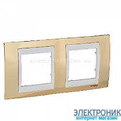 Рамка 2-я горизонтальная Schneider Electric Unica Top Золото/Слоновая кость