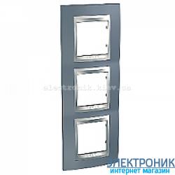 Рамка 3-я вертикальная Schneider Electric Unica Top Металлик/Алюминий