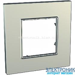 Рамка одноместная Schneider (Шнайдер) Unica Quadro Metallized Титановый