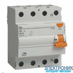 Дифференциальный выключатель трехфазный (УЗО) General Electric DCG440/030 4P, AC