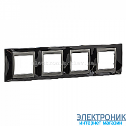 Рамка 4-я горизонтальная Schneider Electric Unica Top Черный родий/Графит