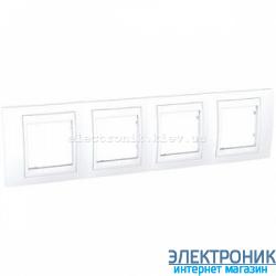 Рамка четырехместная Schneider (Шнайдер) Unica Plus горизонтальная Белый/Белый