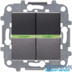 Выключатель 2-кл. с подсветкой ABВ Zenit антрацит