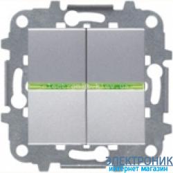 Выключатель 2-кл. с подсветкой ABВ Zenit серебро