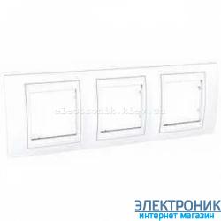 Рамка трехместная Schneider (Шнайдер) Unica Plus горизонтальная Белый/Белый