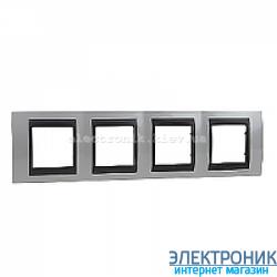 Рамка 4-я горизонтальная Schneider Electric Unica Top Белоснежный/Графит