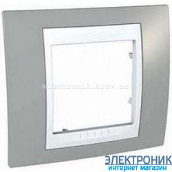 Рамка одноместная Schneider (Шнайдер) Unica Plus Туманно-серый/Белый